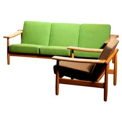 1960s, Oak Sofa and Lounge Chair or Living Room Set from Denmark in GETAMA Style