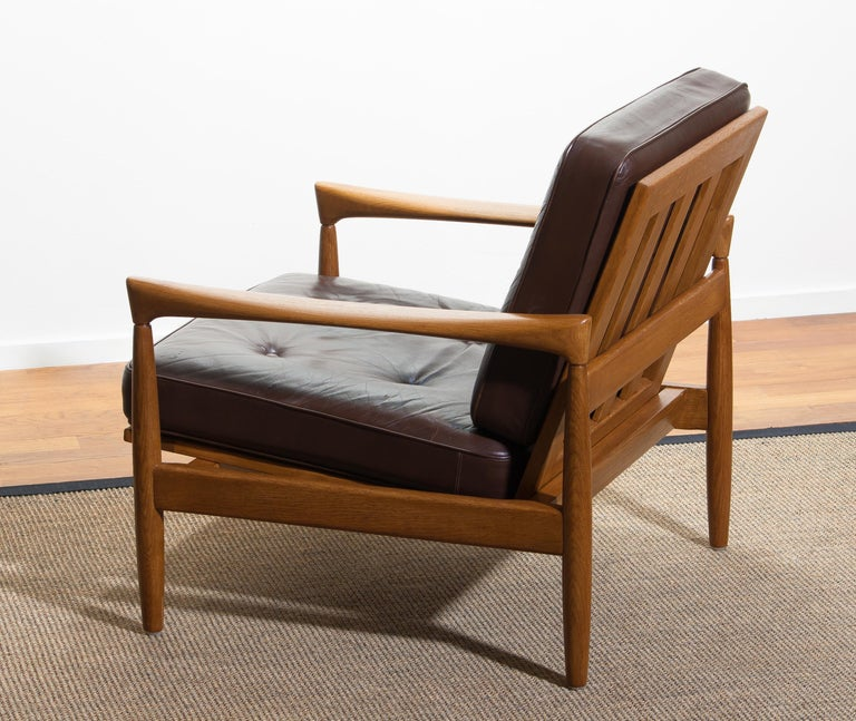 1960s, Oak with Brown Leather Lounge Chair by Erik Wörtz for Bröderna Anderssons 4
