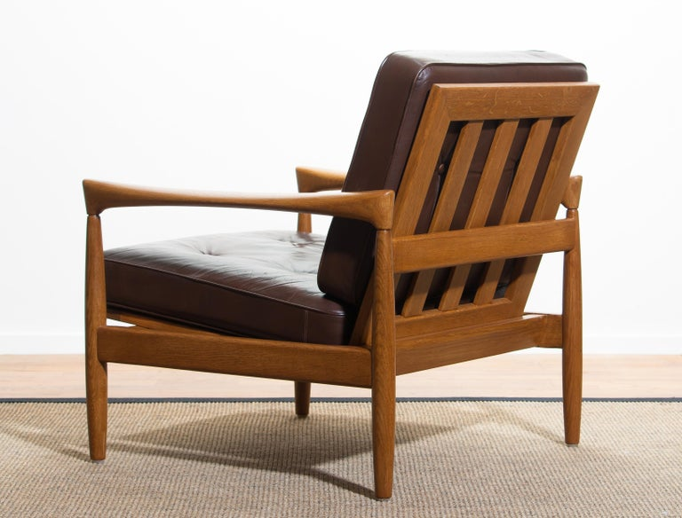 1960s, Oak with Brown Leather Lounge Chair by Erik Wörtz for Bröderna Anderssons 5