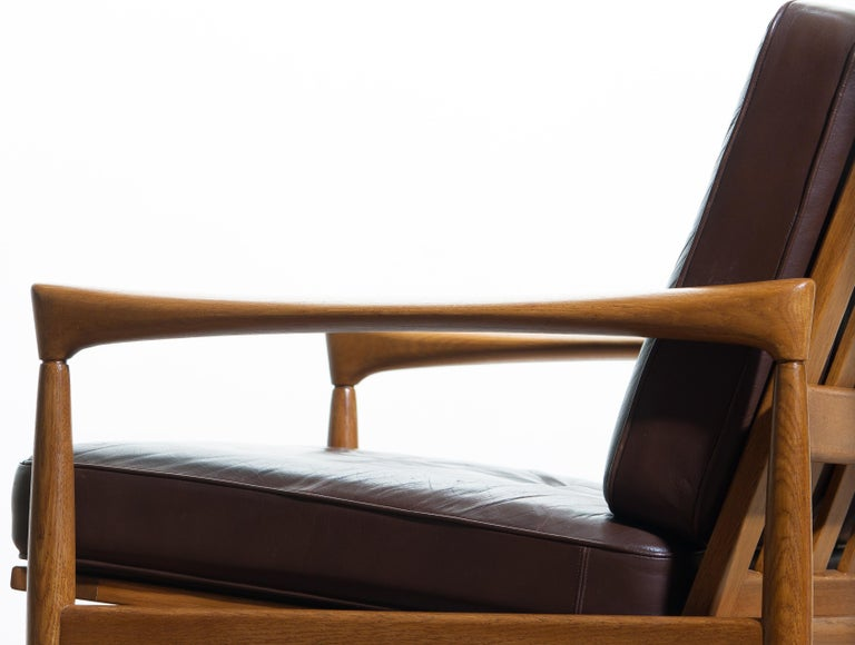 1960s, Oak with Brown Leather Lounge Chair by Erik Wörtz for Bröderna Anderssons 6