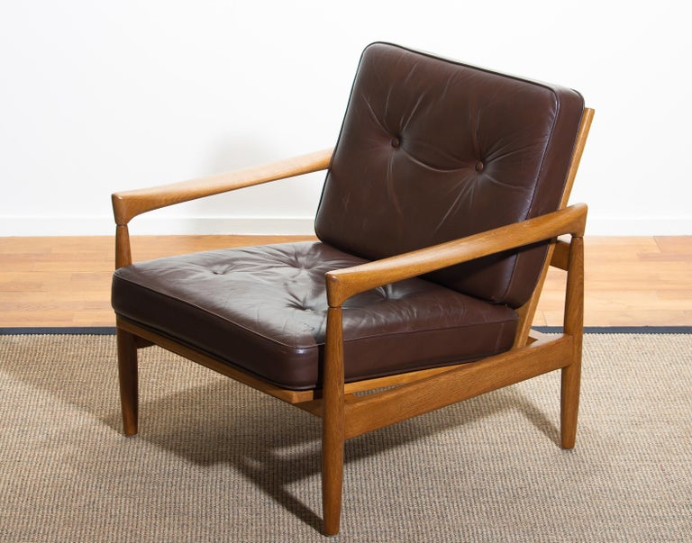 1960s, Oak with Brown Leather Lounge Chair by Erik Wörtz for Bröderna Anderssons 7