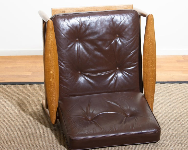 1960s, Oak with Brown Leather Lounge Chair by Erik Wörtz for Bröderna Anderssons 8