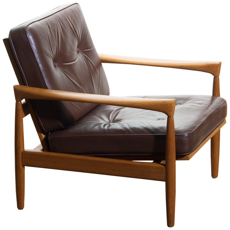 Mid-Century Modern 1960s, Oak with Brown Leather Lounge Chair by Erik Wörtz for Bröderna Anderssons