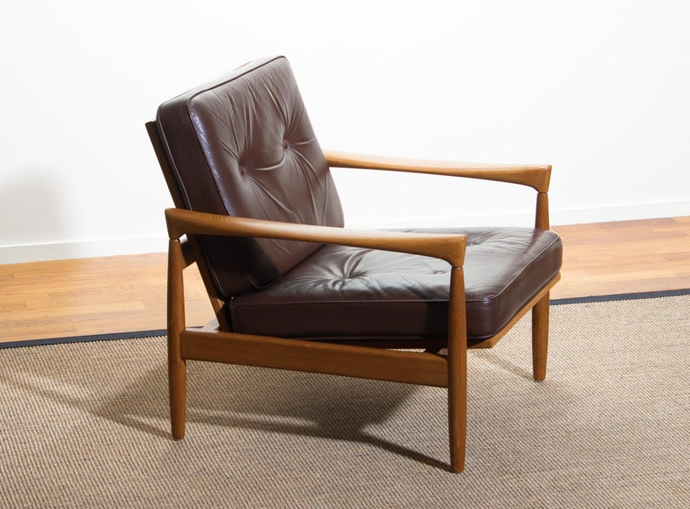 Swedish 1960s, Oak with Brown Leather Lounge Chair by Erik Wörtz for Bröderna Anderssons