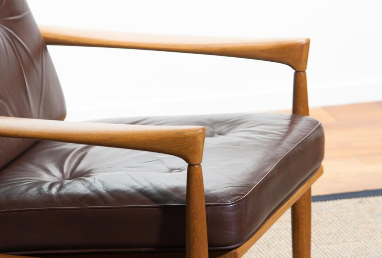 1960s, Oak with Brown Leather Lounge Chair by Erik Wörtz for Bröderna Anderssons In Good Condition In Silvolde, Gelderland