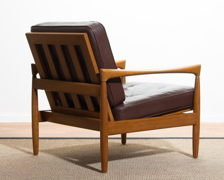 Mid-20th Century 1960s, Oak with Brown Leather Lounge Chair by Erik Wörtz for Bröderna Anderssons