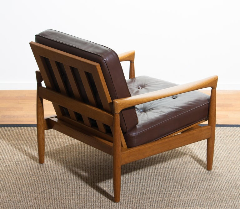 1960s, Oak with Brown Leather Lounge Chair by Erik Wörtz for Bröderna Anderssons 1