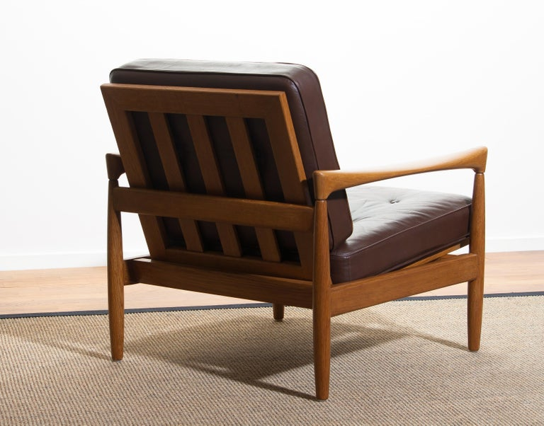 1960s, Oak with Brown Leather Lounge Chair by Erik Wörtz for Bröderna Anderssons 2