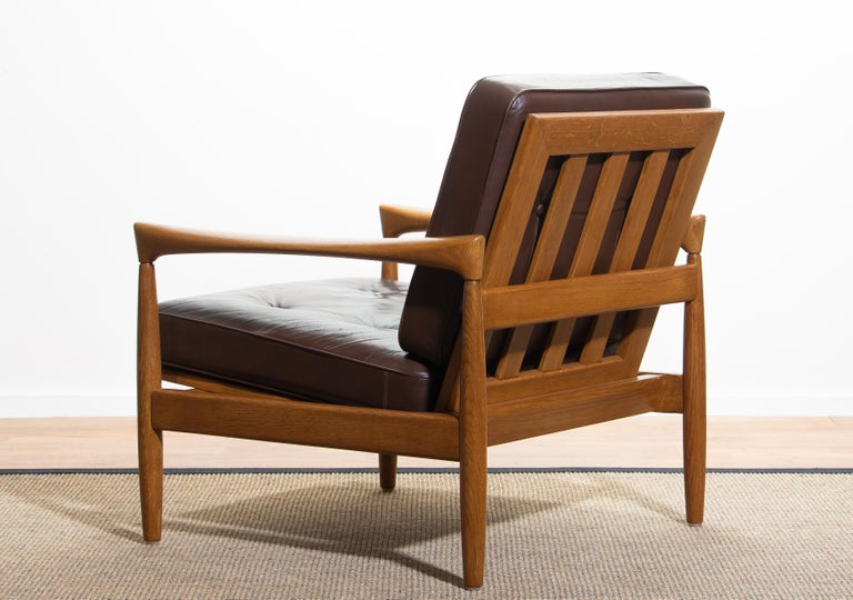 1960s, Oak with Brown Leather Lounge Chair by Erik Wörtz for Bröderna Anderssons 3