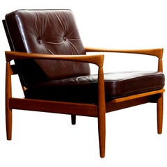 1960s, Oak with Brown Leather Lounge Chair by Erik Wörtz for Bröderna Anderssons