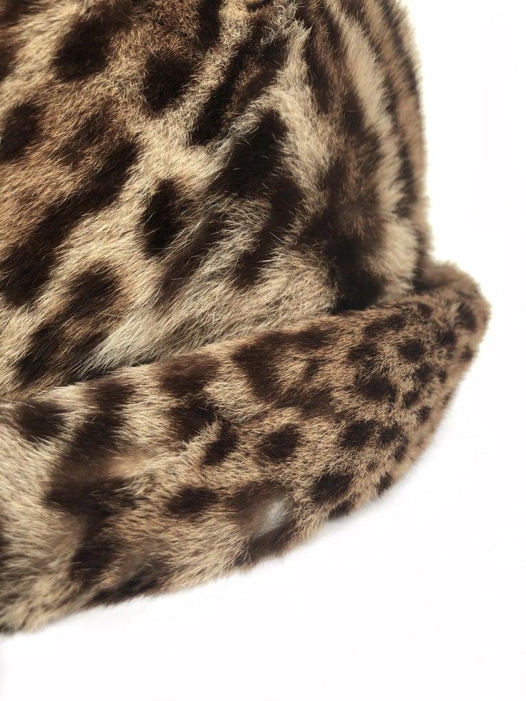 1960s Ocelot Animal Print Leather Bow Embellished Brown Black Genuine Fur Hat For Sale 4