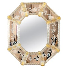 1960s Octagonal Italian Murano Venetian Floral Gold-Flecked Etched Wall Mirror