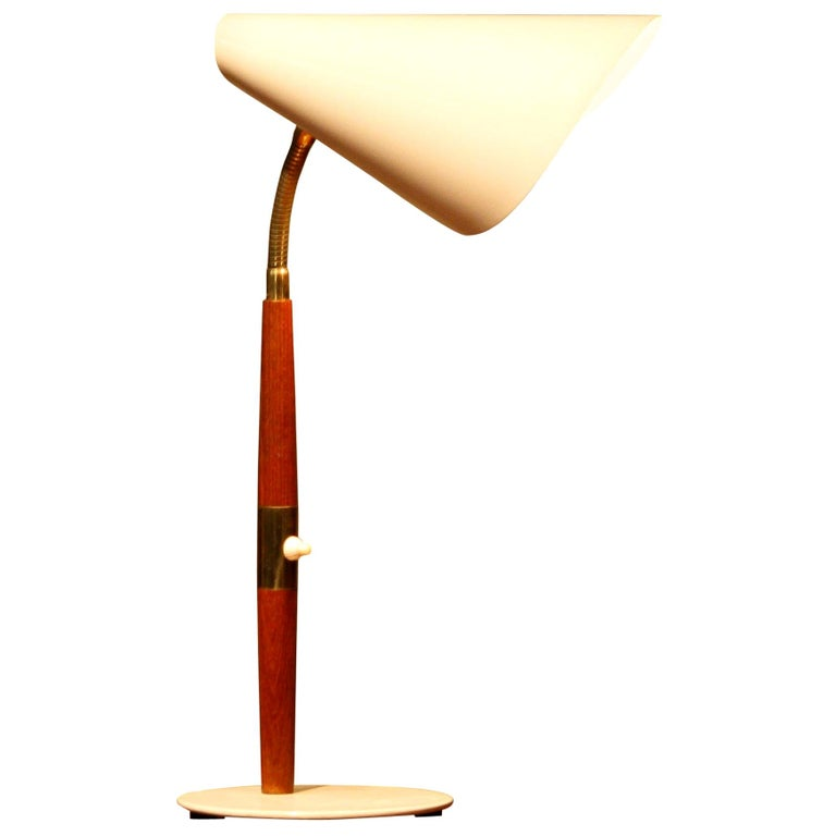 Swedish 1960s, Off-White with Teak and Brass Elements Desk or Table Lamp by Karlskrona