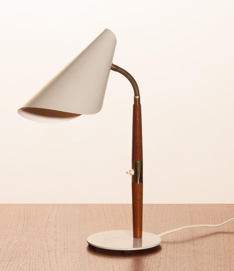 Mid-20th Century 1960s, Off-White with Teak and Brass Elements Desk or Table Lamp by Karlskrona