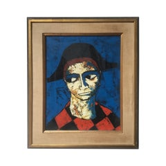 1960s Oil on Canvas of a Harlequin by Pierre Mas