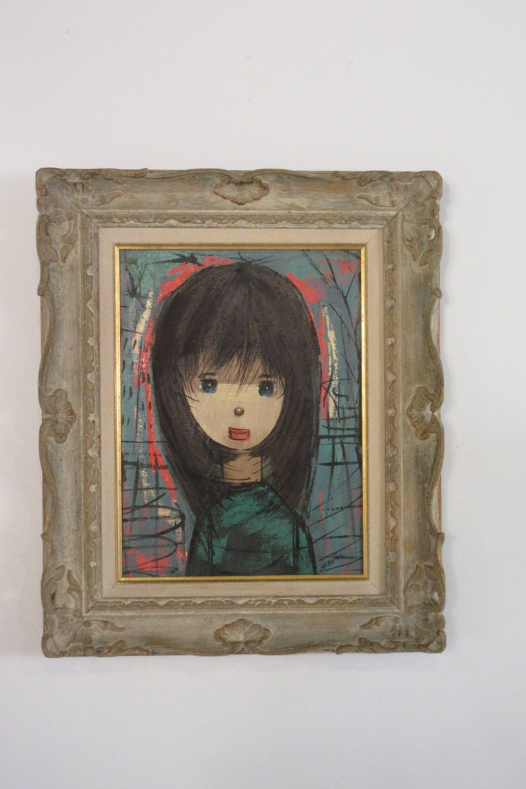 1960s oil on canvas young girl with original carved wood frame.