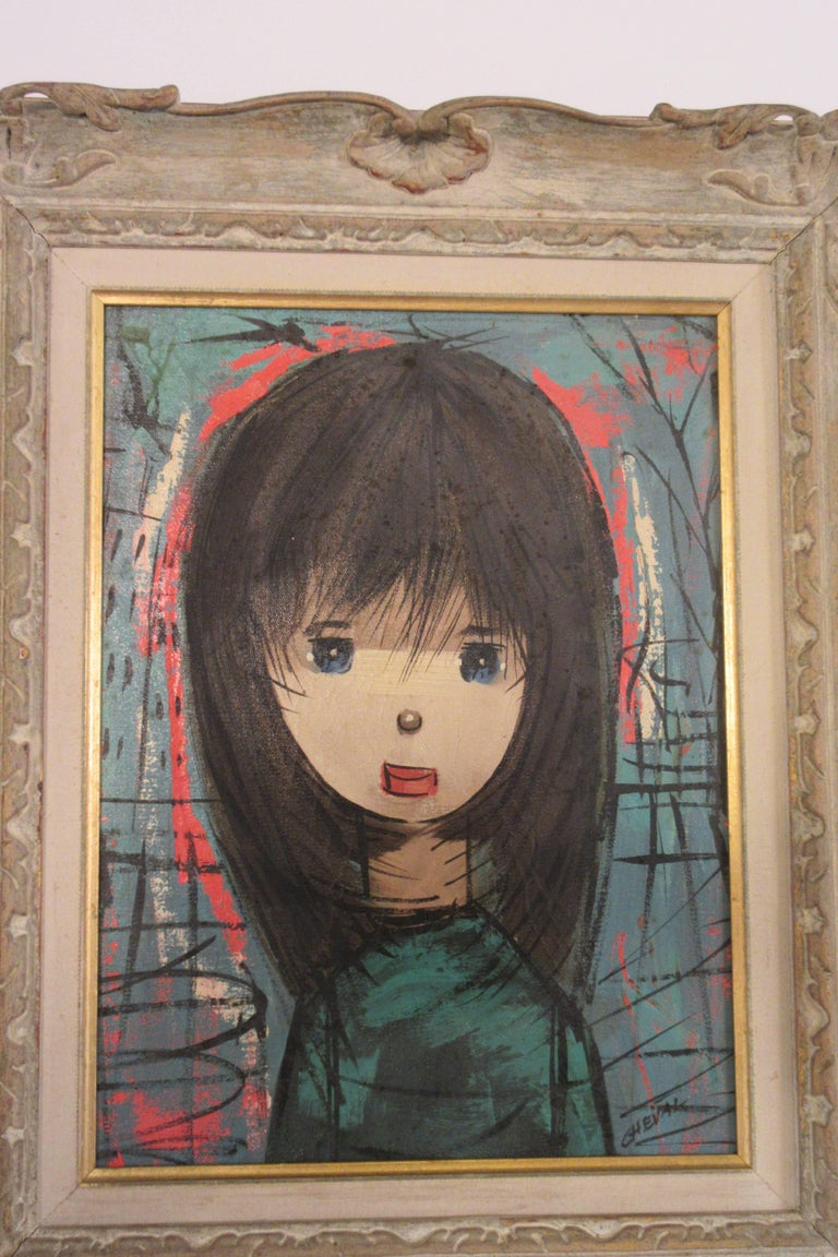 1960s Oil on Canvas Young Girl In Good Condition For Sale In Tarrytown, NY