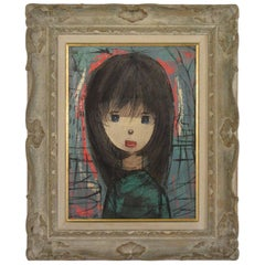 1960s Oil on Canvas Young Girl