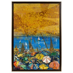 1960s Oil Painting of Ocean Scene by French Artist Norma Bergerac