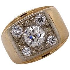 1960s Old European Cut Diamond 14 Karat Yellow Gold Vintage Ring