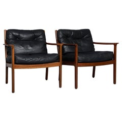 1960'S Ole Wanscher Pair of Easy Chairs in Leather and Rosewood
