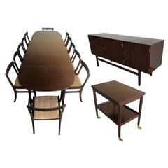 1960s Ole Wanscher Set of Dining Table, Sideboard, Side Table and 12 Chairs
