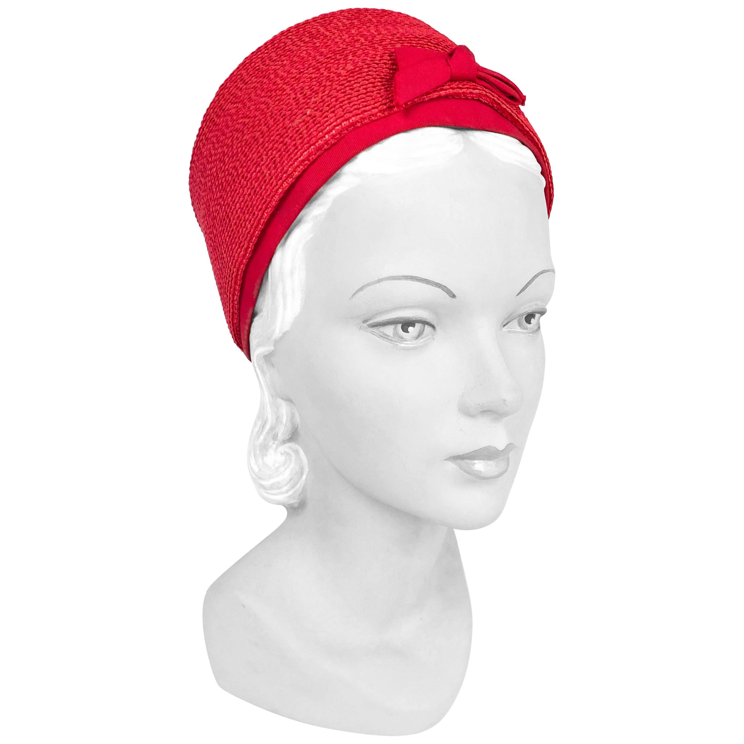 1960s Oleg Cassini Red Pillbox Hat