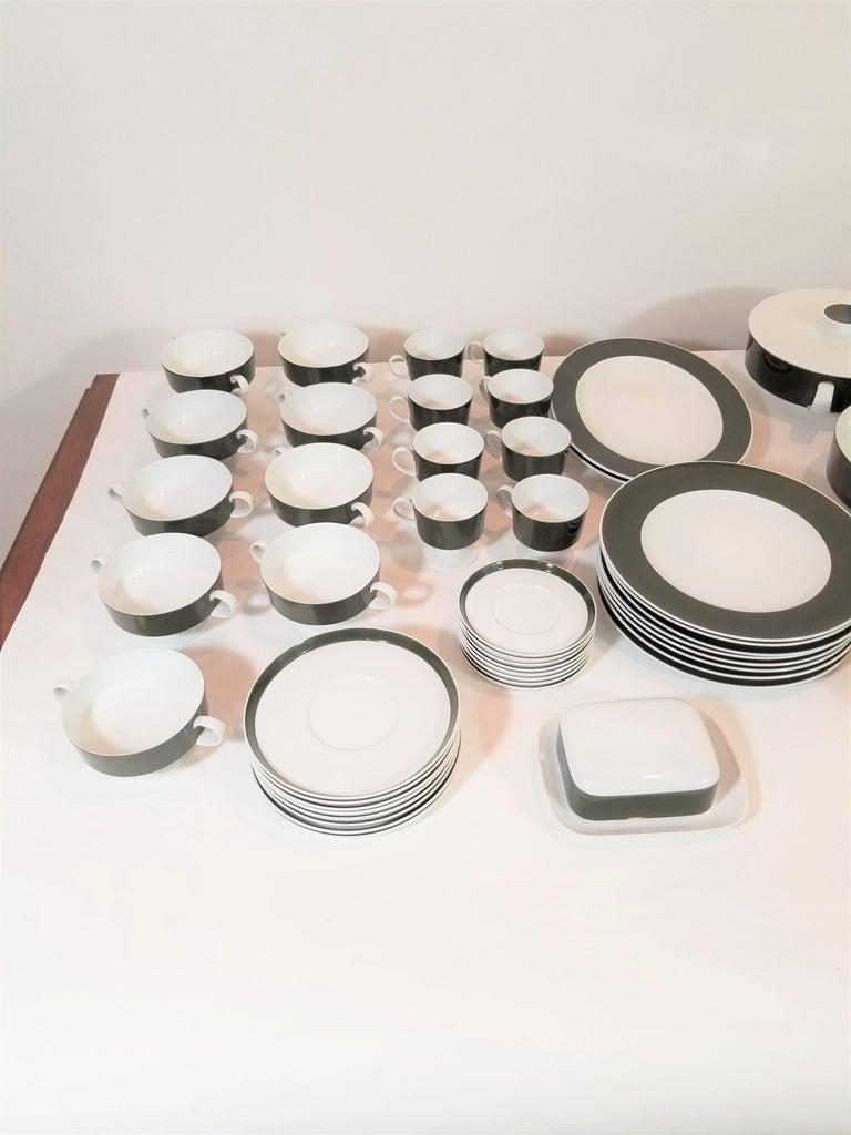 European 1960s Olive Rosenthal, Continental Midcentury Porcelain Service for 8 / 63 Pcs