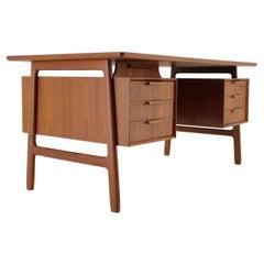 1960s Omann Jun Model 75 Freestanding Teak Writing Desk, Denmark