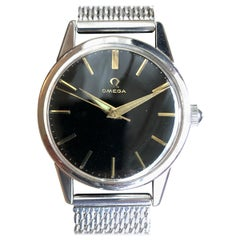 1960s Omega Classic Wristwatch Steel with Manual Winding and Milanese Bracelet