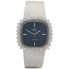 1960s Omega De Ville Diamonds White Gold Wristwatch