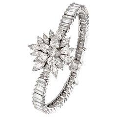 1960s Omega Platinum Ladies Diamond Covered Watch