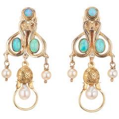 1960s Opal Cultured Pearl Yellow Gold Clip Post Dangle Chandelier Earrings