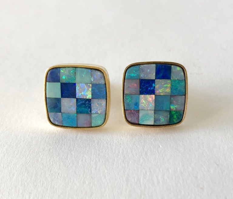 1960s Opal Mosaic 14 Karat Gold Modernist Cufflinks In Good Condition For Sale In Los Angeles, CA