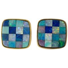 1960s Opal Mosaic 14 Karat Gold Modernist Cufflinks