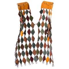 1960'S Or 1970S Hippie Era Multicolored Leather Diamond Cut Studded Vest