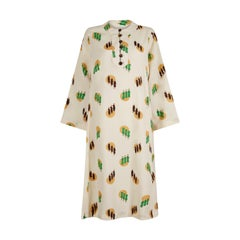 1960s or 1970s Kaftan Style Ivory Dress With Monks Novelty Print