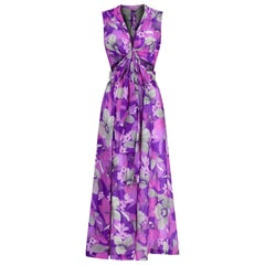 1960s or 1970s Purple Floral Skirt Set