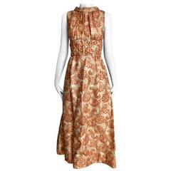 1960s Orange and Gold Brocade Sleeveless Maxi Dress