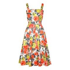 1960s Orange and Yellow Rose Print Cotton Dress