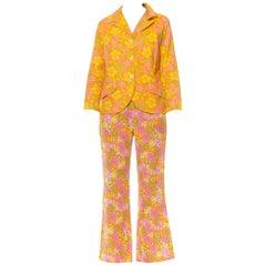 1960S Orange Cotton Miss-Matched Mod Floral Pant Suit