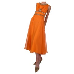1960s Orange Dress With Complimenting Beadwork Detail