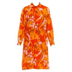 1960S Orange Floral Print Poly Blend Button Up Shirt Dress