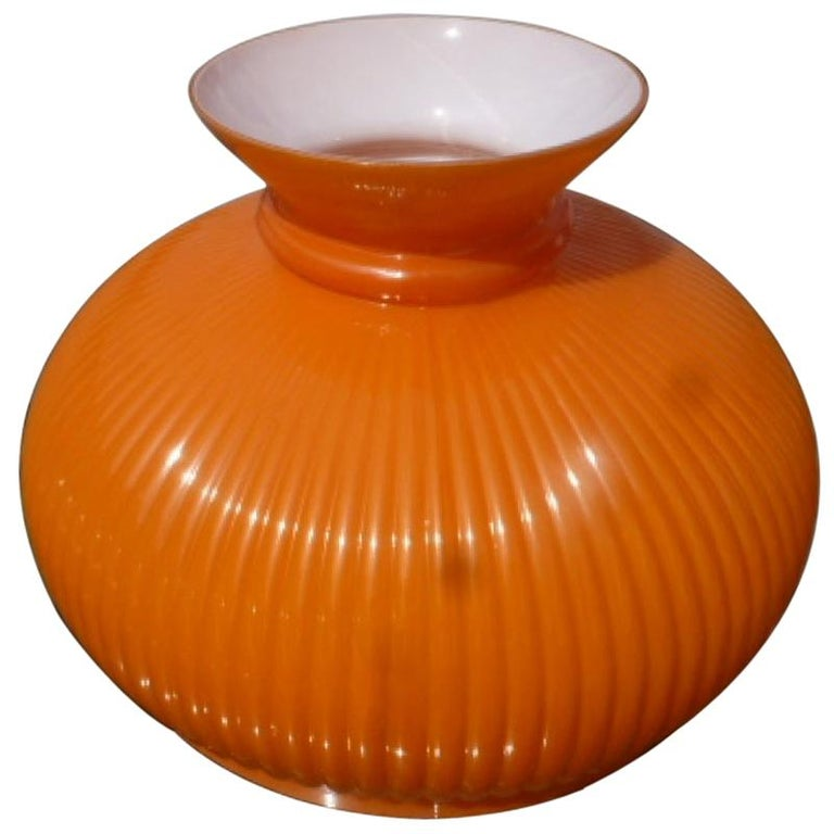 1960's Orange Glass Lampshades, 20th Century For Sale