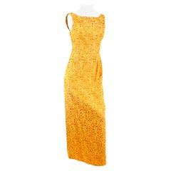 1960s Orange & Gold Floral Brocade Gown