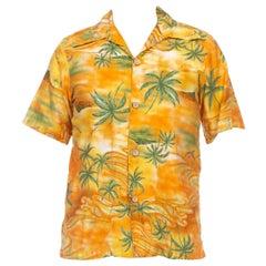 1960S Orange & Green Cotton Hawaiian Short Sleeve Shirt With Dagger Colar
