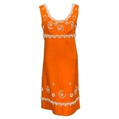 1960's Orange Linen Dress with White Beadwork and Passementerie