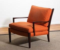 "1960s, Orange Linen Easy / Lounge Chair ""Löven"" by Arne Morell Sweden"