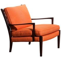"1960s, Orange Linen Easy / Lounge Chair ""Löven"" by Arne Norell, Sweden"