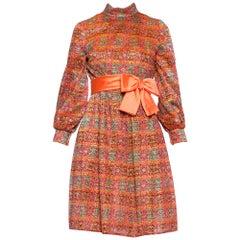 1960S Orange Metallic Silk Lurex Lace Mini Cocktail Dress With Bishop Sleeves &